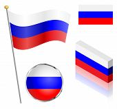 picture of flag pole  - Russian Federation flag on a pole badge and isometric designs vector illustration - JPG
