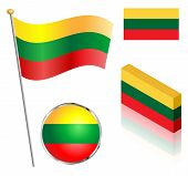 pic of flag pole  - Lithuanian flag on a pole badge and isometric designs vector illustration - JPG