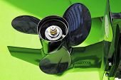 foto of outboard  - Boat engine propeller - JPG