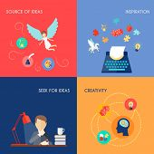 stock photo of muse  - Muse design concept set with source of ideas inspiration creativity flat icons set isolated vector illustration - JPG