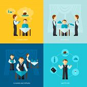 image of waiter  - Waiter man job design concept with customer order vip service cleaning and serving icon flat set isolated vector illustration - JPG