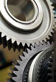 foto of gear wheels  - Gear metal wheels close - JPG