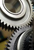 picture of interlocking  - Gear metal wheels close - JPG