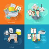 image of contract  - Document design concept set with contract message record flat icons isolated vector illustration - JPG