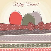 image of baby easter  - happy easter card. easter egg with pattern ribbons 
