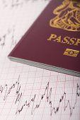 stock photo of ecg chart  - UK Passport On ECG Printout To Illustrate Risk Of Catching Illness Overseas - JPG