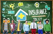 stock photo of policy  - Diversity Casual People Insurance Policy Benefits Service Concept - JPG