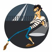stock photo of character traits  - Vector image of an Escape of thief - JPG