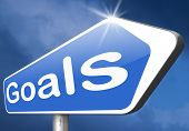 stock photo of goal setting  - goals and ambition way to success guarantee to reach your goal and go to the top   - JPG