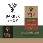 image of barbershop  - Vector heraldic logo for a hairdressing salon - JPG