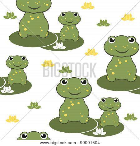 cartoon frog seamless background