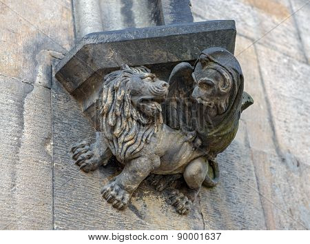 Bracket With Chimera On Tower Of Charles Bridge, Prague, Czech.