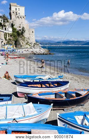 Typical Fishing Boats On The Beach Of The Amalfi Coast