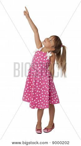 Cute Female Child Pointing Upward