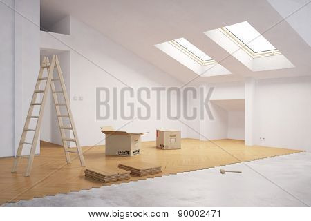 Laying hardwood on floor in attic during renovation (3D Rendering)