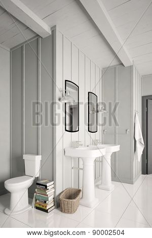 WC toilet and two sinks in a clean white bathroom (3D Rendering)