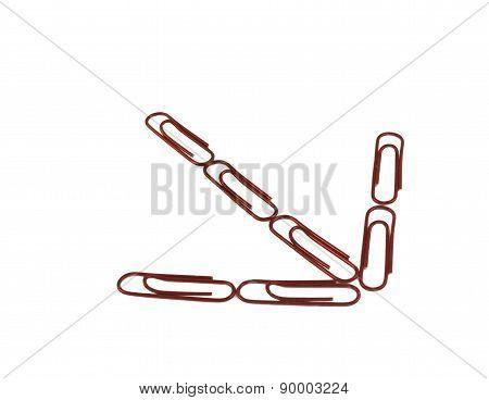 Red Paper Clips Arrange In A Arrow.