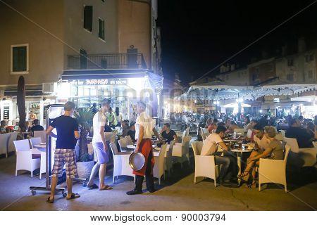 Restaurant On Promenade In Rovinj
