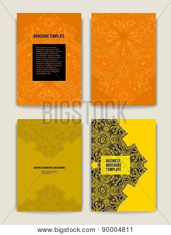 Bright brochure templates. Abstract ornamental backgrounds for design, leaflet, cards, invitation and so on.