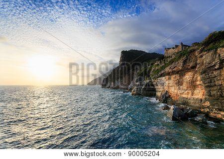 Scenic cliffs and sunset in Portovenere