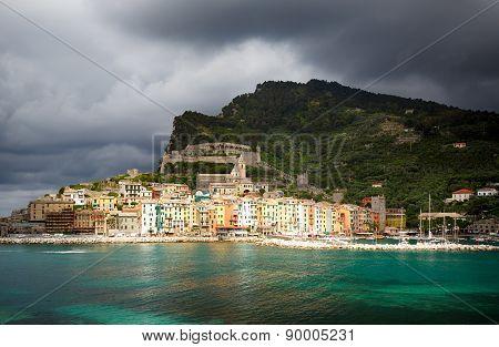 Portovenere after the storm - seen from the Island of Palmaria. La Spezia Liguria Italy