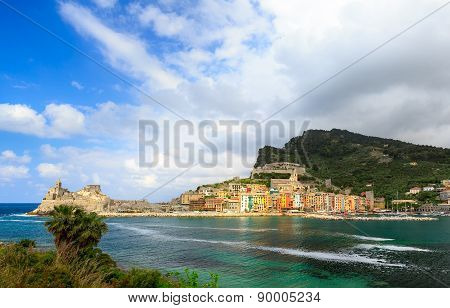 Portovenere or Porto Venere, Panorama from Island of Palmaria. After the Storm. La Spezia, Liguria,