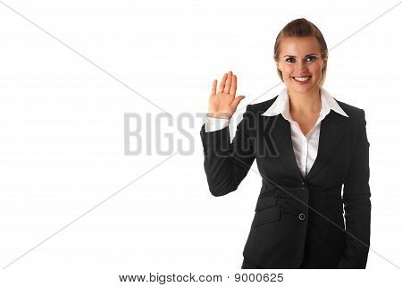 friendly  modern business woman showing salutation gesture isolated on white background