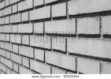 Angled Shot Brick Wall Black & White