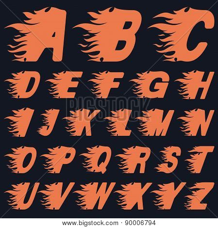 Abc Fire Letters, Vector Illustration