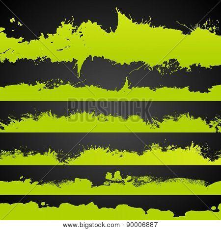 Grunge Acid Color Drawn Splashes Set
