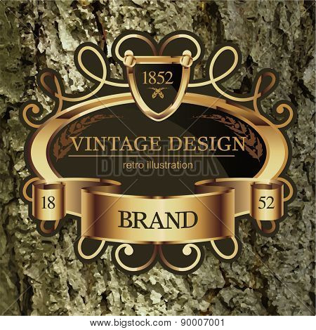 Vintage Label frame for Business Identity, Restaurant, Hotel, Luxury Logos or Boutique. Elegant Retro Royalty Heraldic Design with Floral Elements. Vector Illustration Template Wood Bark Texture.