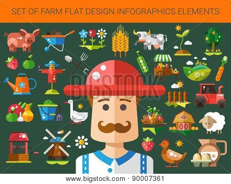 Set of modern flat design farm and agriculture icons