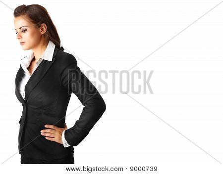 pensive modern business woman isolated on white background