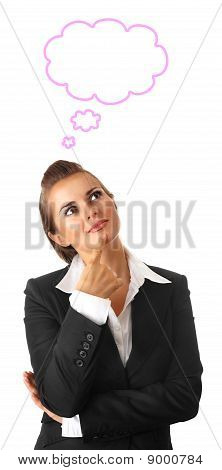 dreaming modern business woman isolated on white background