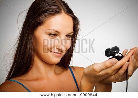Pretty Girl With Webcamera