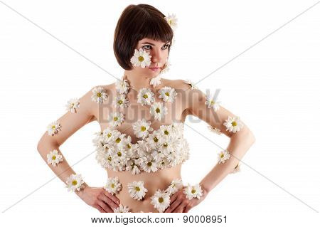 attractive woman in chrysanthemums on the body