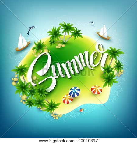 Headline Summer. Tropical island in the blue sea. Vector illustration
