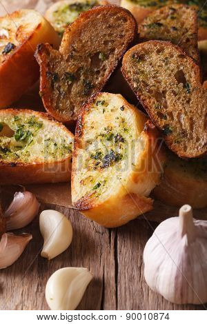 Slices Of Toasted Bread With Herbs And Garlic. Vertical, Rustic