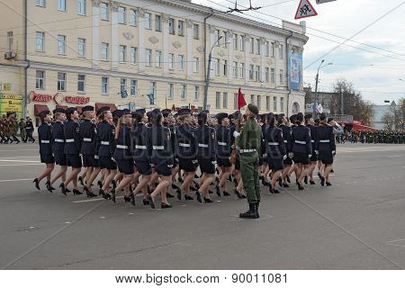 Women Soldiers In Uniform Are At Rehearsal Of Military Parade