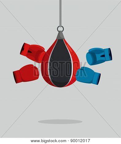 Punch bag and gloves. Equipment for boxing. Exercise beats. Vector illustration