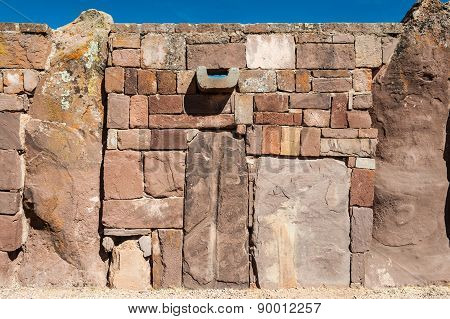 Wall At Tiwanaku, Titicaca Region, Altiplano, Bolivia