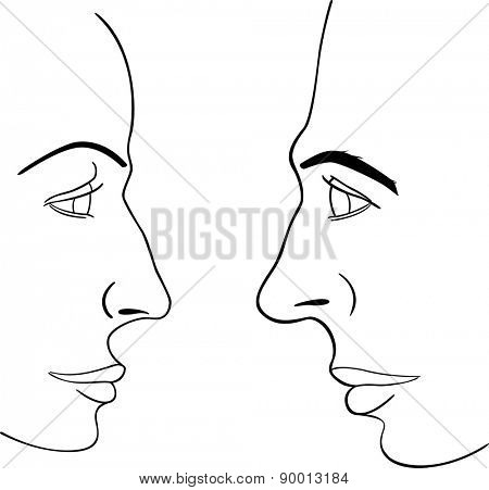 man and woman faces