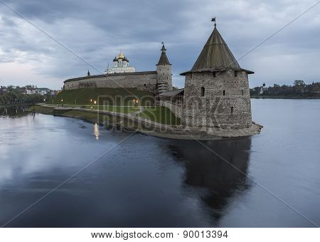 Pskov Kremlin At The Confluence Of Two Rivers, The Great And Pskov Evening.