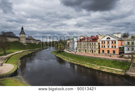 Golden Embankment, A Residential Area In The Historical Site Of Pskov On The River Pskov.