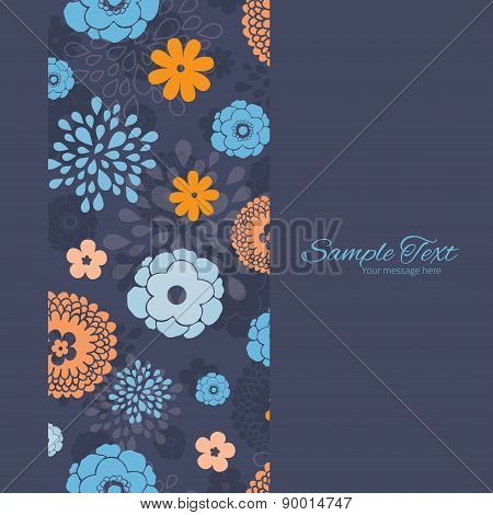 Vector Golden and Blue Night Flowers Vertical Frame Seamless Pattern Background