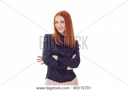 Elegant redhead woman with crossed arms on white background