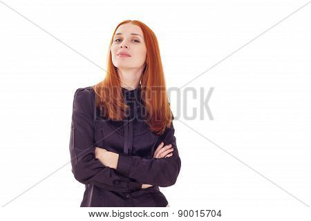 Redhead elegant woman with crossed arms and head held high