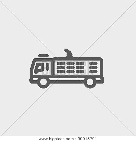 Fire truck icon thin line for web and mobile, modern minimalistic flat design. Vector dark grey icon on light grey background.