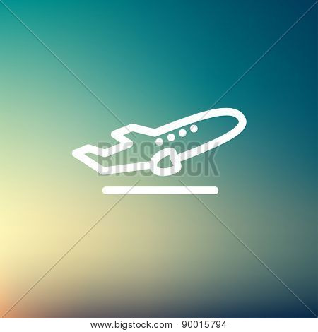 Airplane takeoff icon thin line for web and mobile, modern minimalistic flat design. Vector white icon on gradient mesh background.