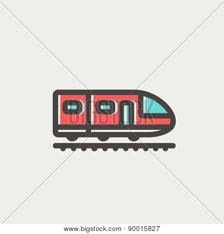 Modern high speed train icon thin line for web and mobile, modern minimalistic flat design. Vector icon with dark grey outline and offset colour on light grey background.